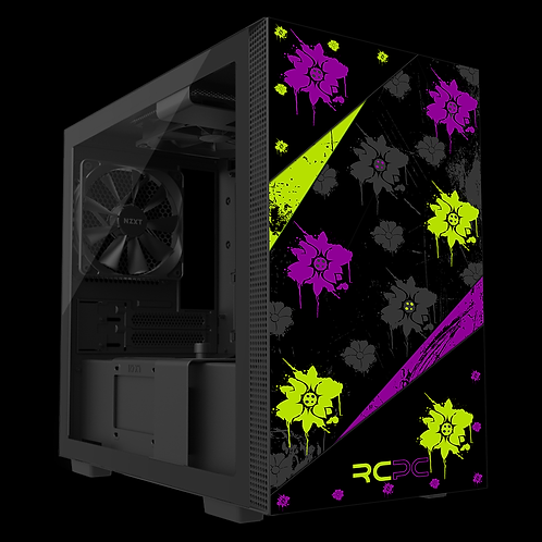 NZXT H210 Zingy Lime-Purple-Black-Grey Floral Grunge Wrap