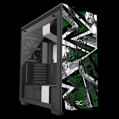 NZXT H710 Green-Grey-White Abstract Grunge Wrap