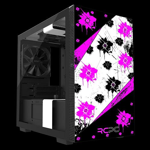 NZXT H210 Pink-Black-White Floral Grunge Wrap