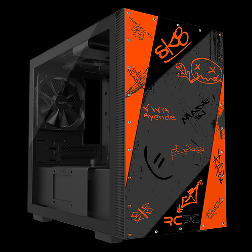NZXT H210 Orange-Grey-Black Graffiti Grunge Wrap