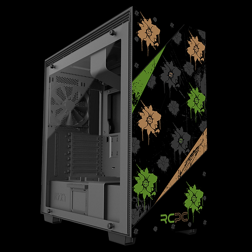 NZXT H710 Green-Brown-Black-Grey Floral Grunge Wrap