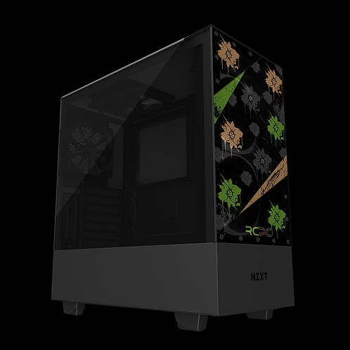 NZXT H510 Elite Green-Brown-Black-Grey Floral Grunge Wrap