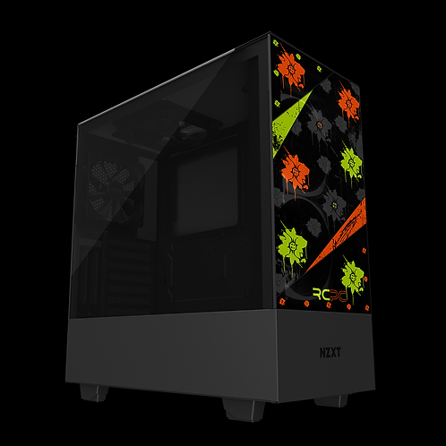 NZXT H510 Elite Zingy Lime-Orange-Black-Grey Floral Grunge Wrap