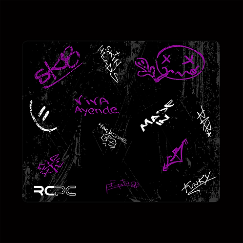 Purple-Black-White-Grey Graffiti Grunge Mouse Pad