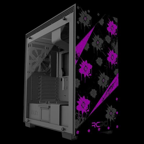 NZXT H710 Purple-Black-Grey Floral Grunge Wrap