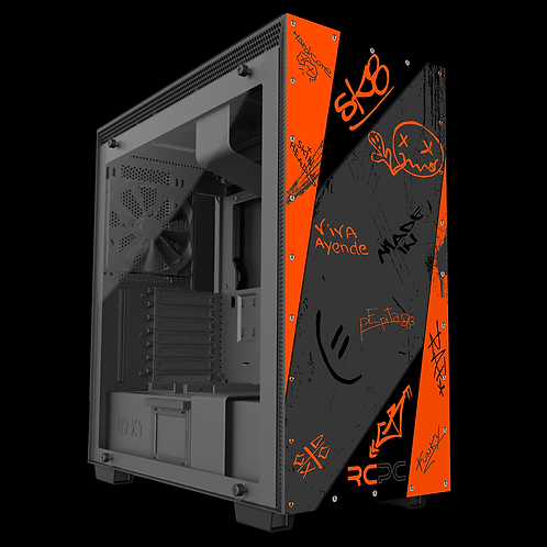 NZXT H710 Orange-Grey-Black Graffiti Grunge Wrap