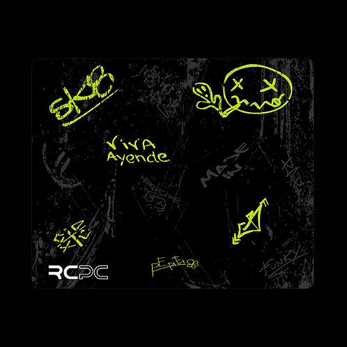 Zingy Lime-Black-Grey Graffiti Grunge Mouse Pad