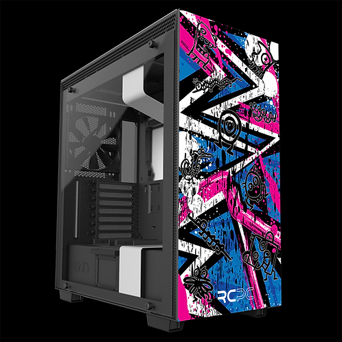 NZXT H710 White-Pink-Blue Abstract Grunge Wrap