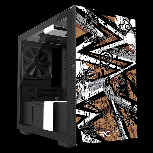NZXT H210 Brown-Grey-White Abstract Grunge Wrap