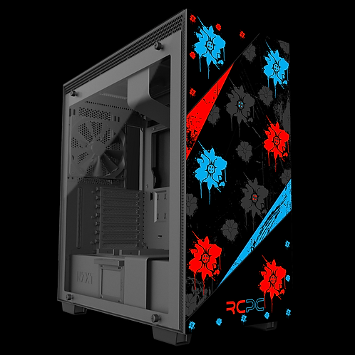 NZXT H710 Red-Turquoise-Black-Grey Floral Grunge Wrap