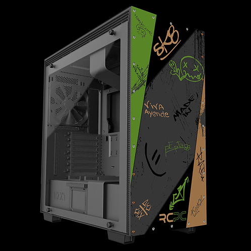 NZXT H710 Green-Brown-Black-Grey Graffiti Grunge Wrap