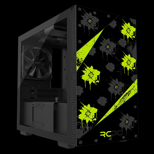 NZXT H210 Zingy Lime-Black-Grey Floral Grunge Wrap