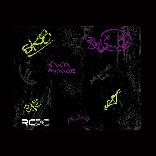 Purple-Zingy Lime-Black-Grey Graffiti Grunge Mouse Pad