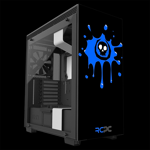 NZXT H710 Black-Blue-White Skull Splat Wrap