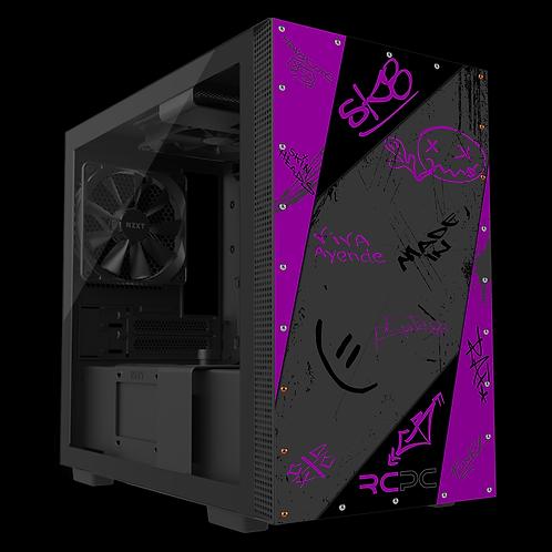NZXT H210 Purple-Black-Grey Graffiti Grunge Wrap