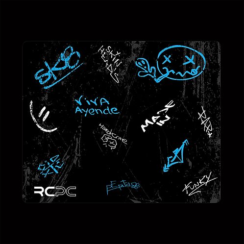 Turquoise-Black-White-Grey Graffiti Grunge Mouse Pad