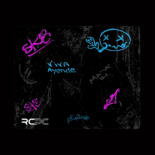 Pink-Turquoise-Black-Grey Graffiti Grunge Mouse Pad