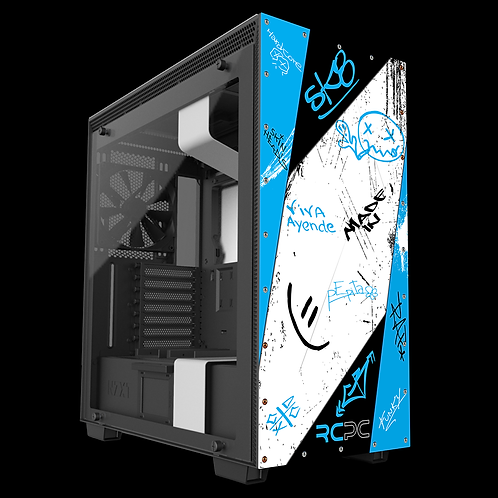 Turquoise-Black-White Graffiti Grunge Wrap