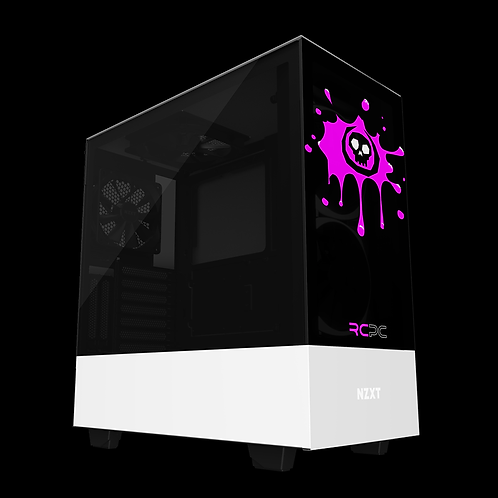 NZXT H510 Elite Black-Pink-White Skull Splat Wrap
