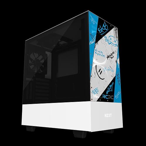 NZXT H510 Elite Turquoise-Black-White Graffiti Grunge Wrap