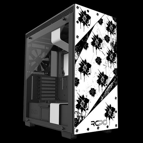 NZXT H710 Black-White Floral Grunge Wrap