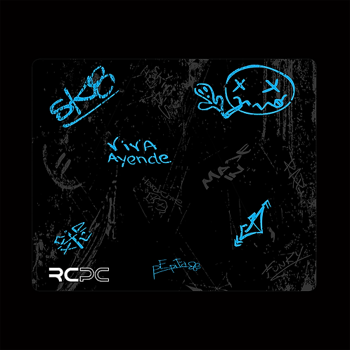 Turquoise-Black-Grey Graffiti Grunge Mouse Pad