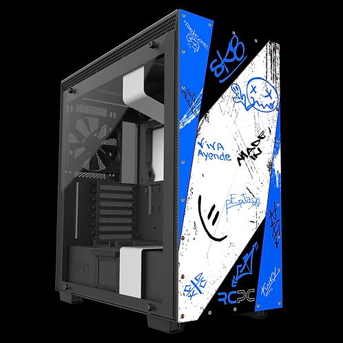 NZXT H710 Blue-Black-White-Grey Graffiti Grunge Wrap
