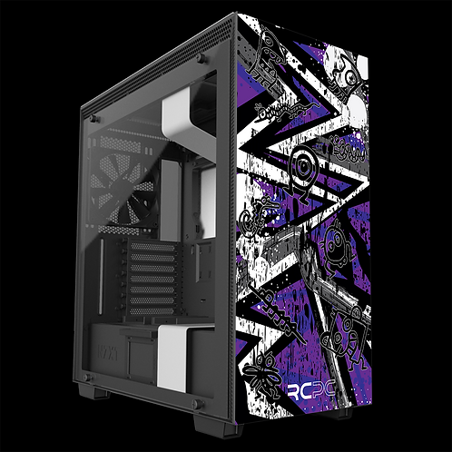 NZXT H710 Purple-Grey-White Abstract Grunge Wrap
