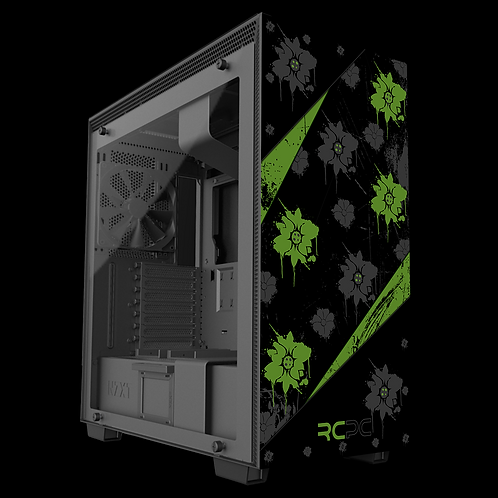 NZXT H710 Green-Black-Grey Floral Grunge Wrap