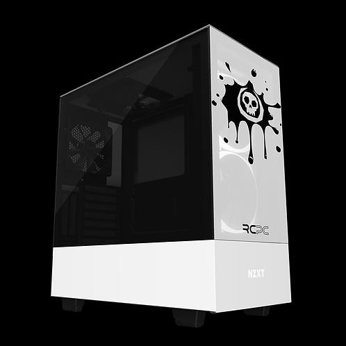 NZXT H510 Elite White-Black Skull Splat Wrap