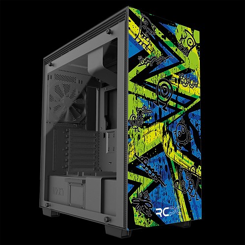 NZXT H710 Zingy Lime-Blue-Lime Abstract Grunge Wrap