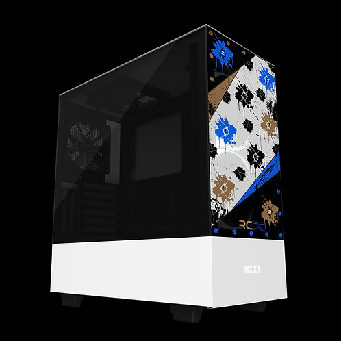 NZXT H510 Elite Blue-Brown-Black-White Floral Grunge Wrap