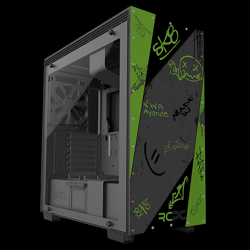 NZXT H710 Green-Grey-Black Graffiti Grunge Wrap