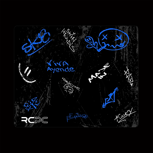 Blue-Black-White-Grey Graffiti Grunge Mouse Pad