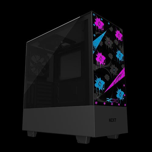 NZXT H510 Elite Turquoise-Pink-Black-Grey Floral Grunge Wrap