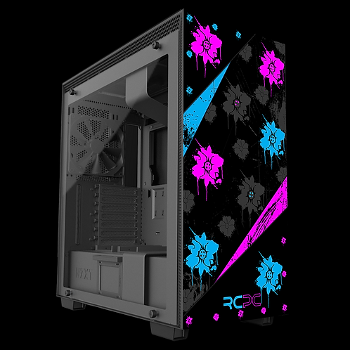 NZXT H710 Turquoise-Pink-Black-Grey Floral Grunge Wrap