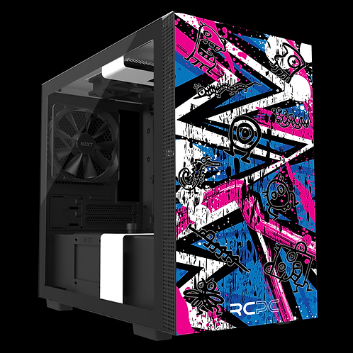 NZXT H210 White-Pink-Blue Abstract Grunge Wrap