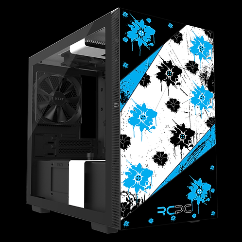 NZXT H210 Turquoise-Black-White Floral Grunge Wrap
