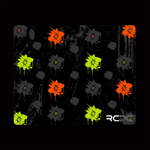 Orange-Lime-Black-Grey Floral Grunge Mouse Pad