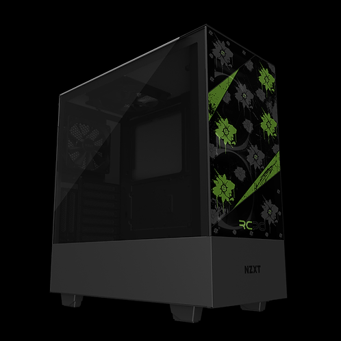 NZXT H510 Elite Green-Black-Grey Floral Grunge Wrap