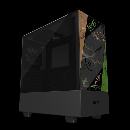 NZXT H510 Elite Green-Brown-Black-Grey Graffiti Grunge Wrap