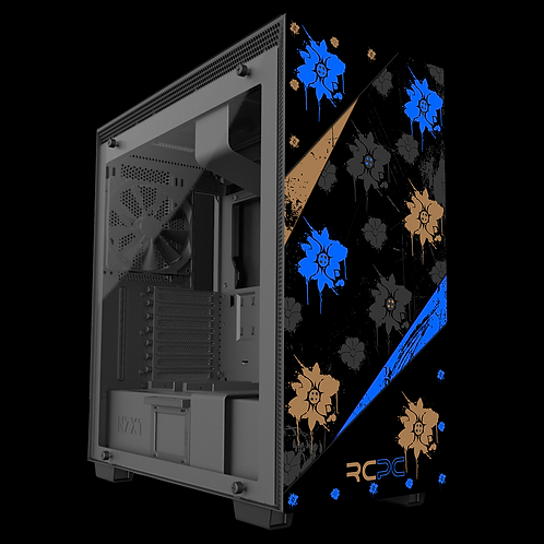 NZXT H710 Blue-Black-Brown-Grey Floral Grunge Wrap