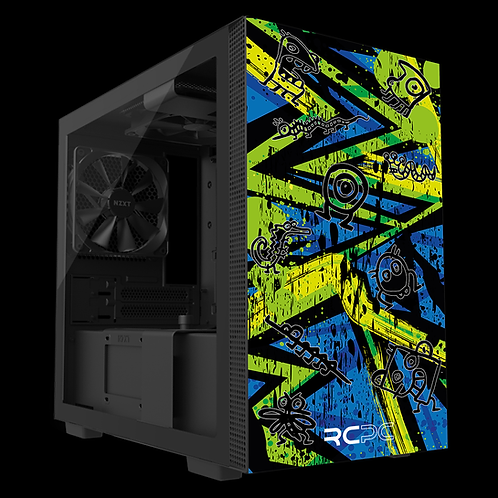 NZXT H210 Zingy Lime-Blue-Lime Abstract Grunge Wrap