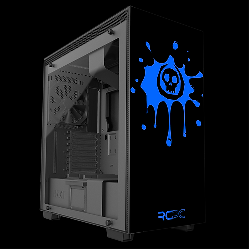 NZXT H710 Black-Blue Skull Splat Wrap