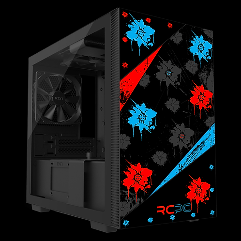 NZXT H210 Red-Turquoise-Black-Grey Floral Grunge Wrap