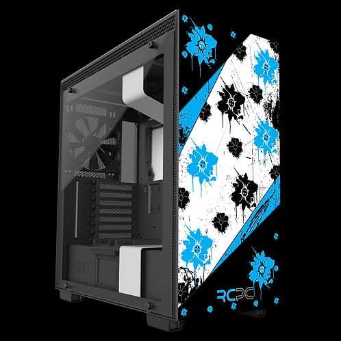 NZXT H710 Turquoise-Black-White Floral Grunge Wrap