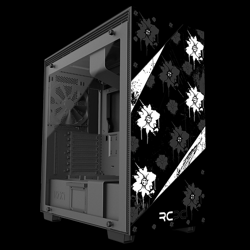 NZXT H710 Black-White-Grey Floral Grunge Wrap