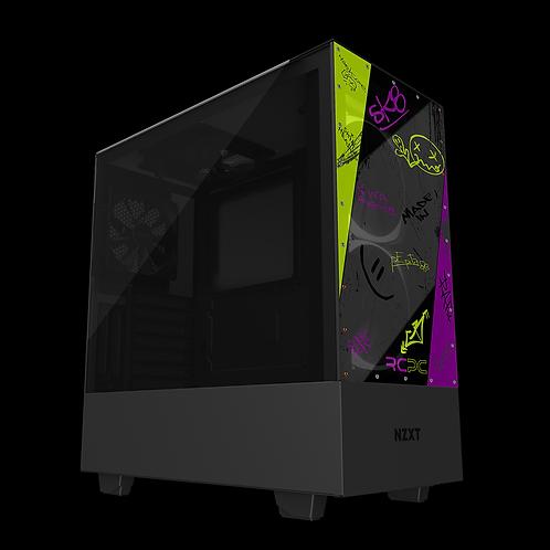 NZXT H510 Elite Zingy Lime-Purple-Grey-Black Graffiti Grunge Wrap