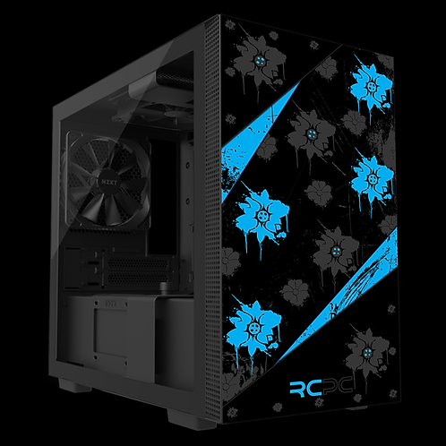NZXT H210 Turquoise-Black-Grey Floral Grunge Wrap