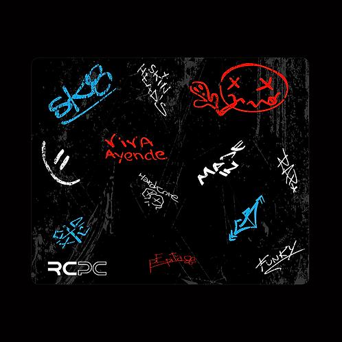 Turquoise-Red-Black-White-Grey Graffiti Grunge Mouse Pad